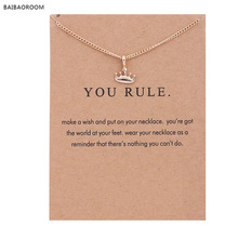 New Gold-color Princess You Rule Crown Alloy Clavicle Bones Pendant Short Chocker Necklace