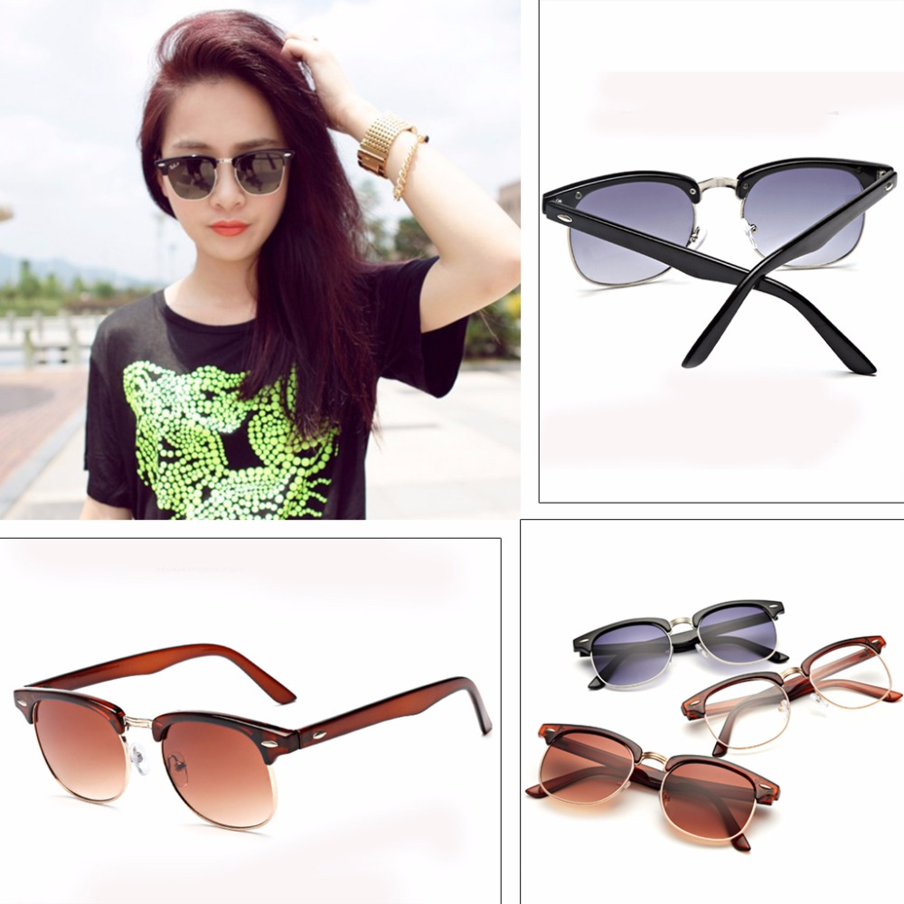 Women's Fashion Cat Eye Sunglasses Designer Vintage Half Frame Eyeglasses Shades Sunglasses(China (Mainland))