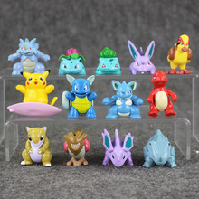 13pcs/lot go plus Charmander Nidoran Bulbasaur Pidgey PVC Figures Toy