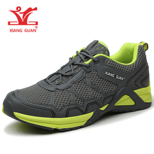 XIANGGUAN Men's Sport Shoes Running Anti-skid Mesh Breathable Outdoor Athletic Sneaker Cross-Country Grey Black Man Size 39-45