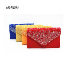 Women Evening Bags For Party Satin Bridal Diamante Lady Elegant Fashion Shoulder Bag Girl's Clutch Bag Exquisiite Gift ZALANDAR(China)