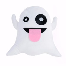 1pcs Cute Soft Plush Emoji Ghost Pillow Cushion Pad Funny Toy Doll Gift for Car home chair sofa Decor 32cm x 35cm x 10cm(China)