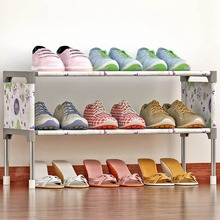 2 Tiers Non-Woven Fabric Shoes Rack Shoes Organizer Rack Saving Space Shoes Cabinet Multi-functional Storage Stand Shelf Holder