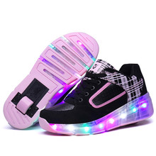 Glowing Children Roller Shoes With Wheels Kids Led Light Up Wing Shoes For Boys Girls Sneakers Pink Black Tenis Infantil