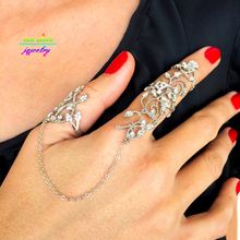 2016 New Arrival Gold/Silver Hollow Out Lace Design Crafted With Rhinestones Slave Rings For Women Thumb Ring Full Finger Ring