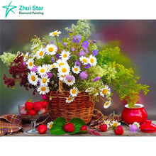 Diamond painting of cross stitch basket of flowers diamond embroidery Needlework square drill full mosaic painting flowers
