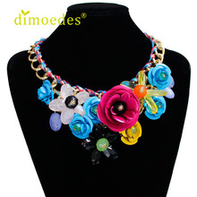 Diomedes Newest DIOMEDES New Women Mixed Style Chain Crystal Colorful Flower Luxury Weave Necklace Accessories Sexy Chain