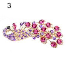 2016 Fashion Peacock Full Crystal Rhinestones Hairpin Hair Clip Headwear Barrettes For Women Girls 8N8F