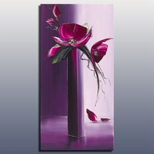 Purple color decorative flower oil painting handmade heavy texture with palette knife acrylic wall art free shipping(China)