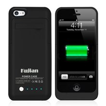 2200mAh Bakcup External Battery Case Charger Case Power Bank Pack Cover Case for Iphone 5 5s Rechargeable for Emergency Black