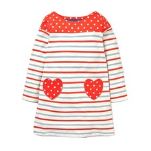 Little Maven Spring Autumn New Children Red Long Sleeve O-neck Striped  Dots Hearts Pockets Soft Cotton Girls Casual Dresses