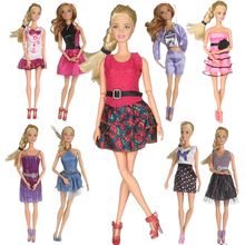 Random 5 Mix Sorts Beautiful Handmade Party Dress Fashion Clothes For Barbie Doll Kids Toys Gift Play House Dressing Up Costume