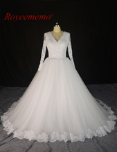 Buy Royeememo real picture 2017 new lace long sleeve Wedding dress hot sale bridal dress light beading custom made factory directly for $238.00 in AliExpress store