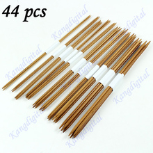 Y142 New 44 pcs 11 Sizes Double Pointed Carbonized Bamboo Crochet Knitting Needles Free Shipping