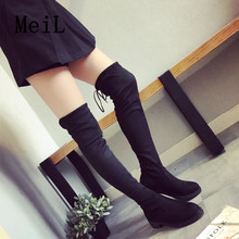 Suede PU Slim Boots Sexy Over The Knee High Women Snow Boots Women's Fashion Winter Thigh High Boots Shoes Woman 2017 New
