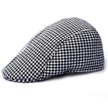 Hot sales unisex fashion grid beret cap men casual checked newsboy hat(China)