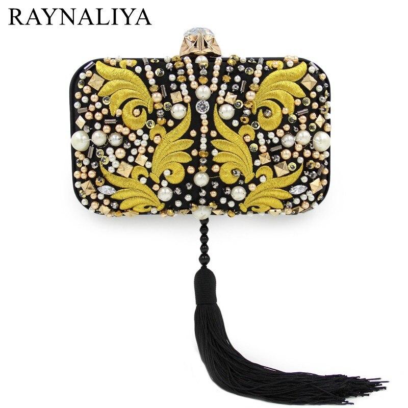 New Women Diamond Wedding Bride Shoulder Bags Gold Clutch Tassel Evening Bags Party Purse Banquet Handbags Smyzh-e0161<br>