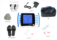 2 Channels TENS Foot Massager Electrical Stimulation For Physical Therapy With 2 Pairs Electrodes & 1 Pair Slippers 110-220V