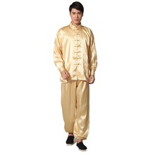 Novelty Gold Men's Satin Pajamas Set Chinese Style Button Pyjamas Suit Soft Sleepwear Shirt&Trousers Nightgown S M L XL XXL(China)