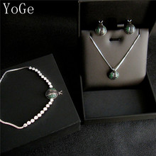 YoGe S8339W Unique AAA cubic zirconia multi stones bug beetle shaped necklace stud earrings and bracelet 3pcs set for women(China)