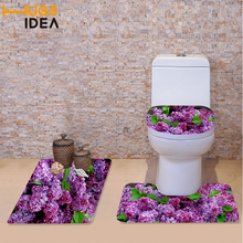HUGSIDEA 3 Piece Set Toilet Seat Cover Wc Set Leaf Sunflower Printed Bathroom Rug Warm Washable Mat for Bathroom and Toilet(China)