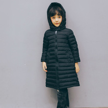 new 2017 winter girls light coats long thin design clothes children solid hooded jackets for boys warm tops kids parka clothing