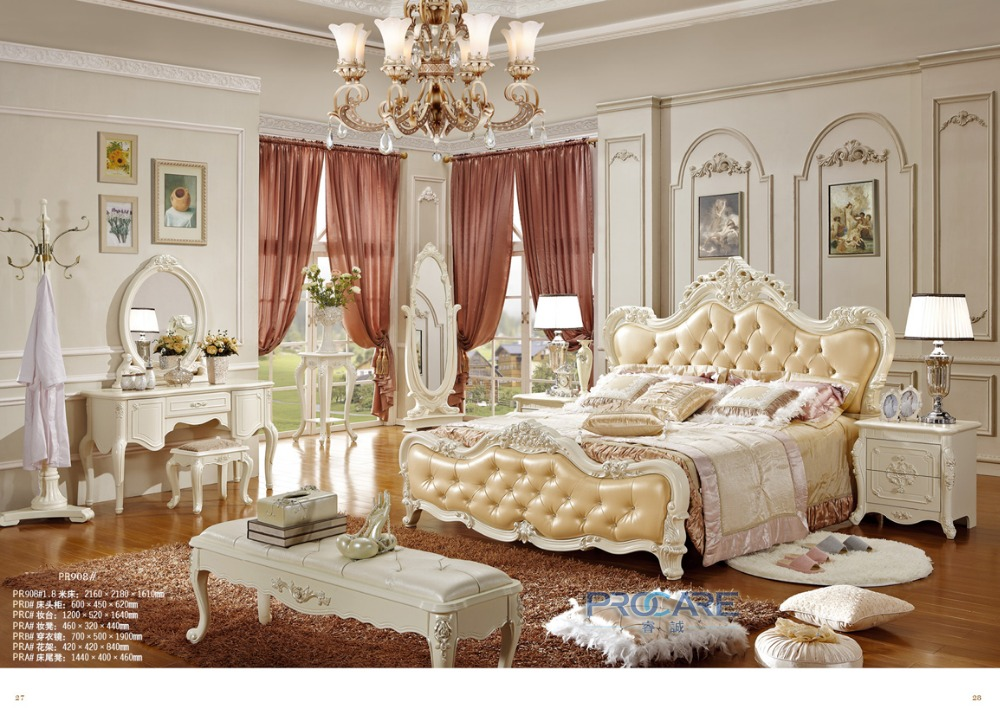 european royal style solid wood handcarved bedroom set white furniture from foshan shunde market with dressing mirror908