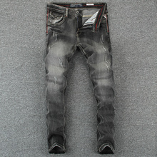 Buy Black Gray Color Denim Mens Jeans Slim Fit Classic Ripped Jeans Men Brand Clothing Italian Style High Stripe Jeans for $36.99 in AliExpress store