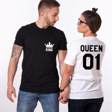 Buy Pkorli King Queen T-Shirt Men Women Letters Printed Funny Couple T Shirts Corron Short Sleeve Couples T Shirt Harajuku Tees Tops for $5.88 in AliExpress store