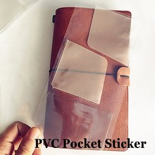 Hot sale PVC pocket stickers (card bag) for Traveler's Notebook cowhide diary spiral multifuntional receive storage