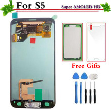 For Samsung Galaxy S5 i9600 G900F G900H SUPER AMOLED HD LCD Display Touch Screen With Digitizer Assembly Home Button(China)