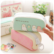 Large Capacity School Pencil Case Cute Stationery Kawaii Sheep Big Zipper Papelaria Cosmetic Pen Bag Office Supplies for School(China)