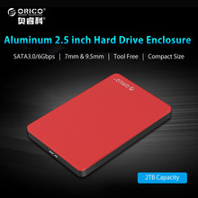 ORICO Aluminum Hard Drive Enclosure USB3.0 5Gbps 2.5 inch External Mobile HDD Case Support 7mm & 9.5mm HDD SSD - Red(China)