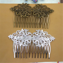 5 pieces/lot 14 Fork 95*55mm Flowers Base Antique Bronze Brushed Vintage Flower Hair Combs Setting
