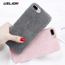 USLION Winter Warm Plush Phone Case For iPhone 8 8 Plus Flannel Furry Fur Soft TPU Back Cover Cases Coque For iPhone 7 7 Plus(China)