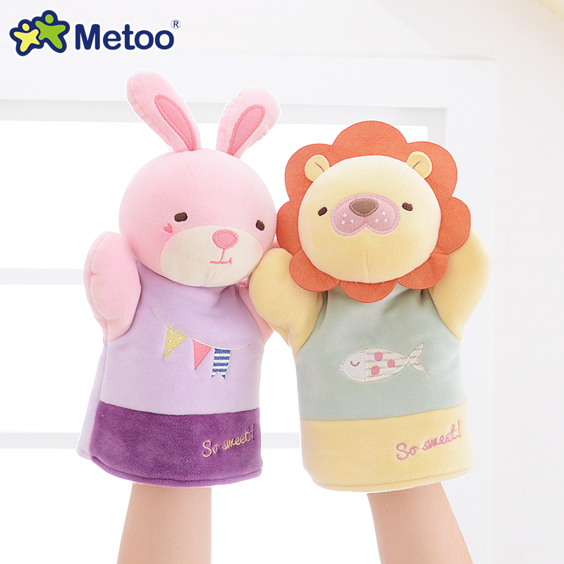 Metoo Hand Finger Puppet Plush Doll Stuffed Toys for kids interesting parent-children interaction toy cute cartoon animal dolls(China (Mainland))