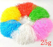 25g plastic PE cheerleading pompoms ,10 pieces/lot ,pom pom ,red, blue,green,white,yellow and pink ,Color and handle can choose(China)