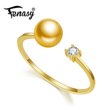 FENASY brand 18K yellow gold ring,8-9mm natural pearl ring for love,bohemian Women 18K Gold Wedding Rings Engagement Ring(China)