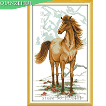 QIANZEHUI,Needlework,DIY Running horses Cross stitch,Sets For Embroidery kits Horse bring success Cross-Stitch,Wall Home Decro