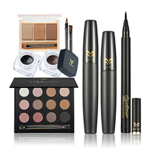 Professional Cosmetics Set Waterproof Eyeliner Mascara Eyebrow Smoky Eyeshadow Set HUAMIANLI Brand Eyes Makeup Kits