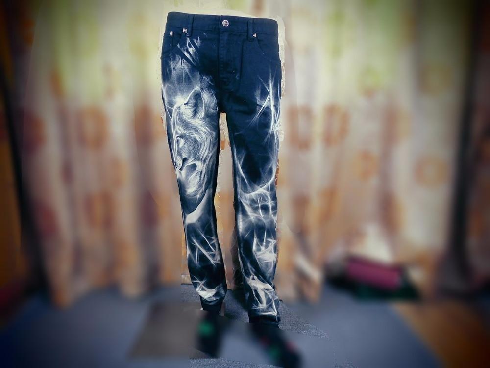 Mens fashion wolf print stretch denim jeans Slim black painted straight pants Long trousers MB17108Îäåæäà è àêñåññóàðû<br><br>