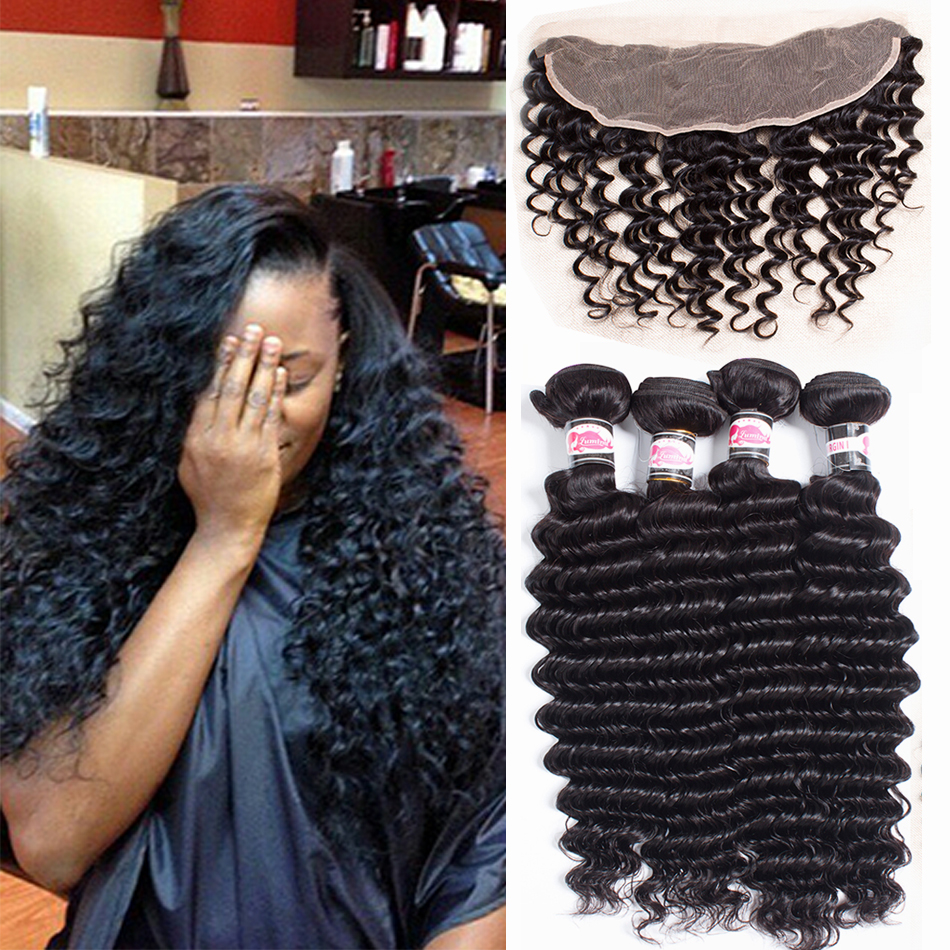 4 Bundles Brazilian Deep Wave With Frontal Closure Pre Plucked Frontal With Bundles Virgin Hair Deep Wave Bundles And Frontal<br><br>Aliexpress