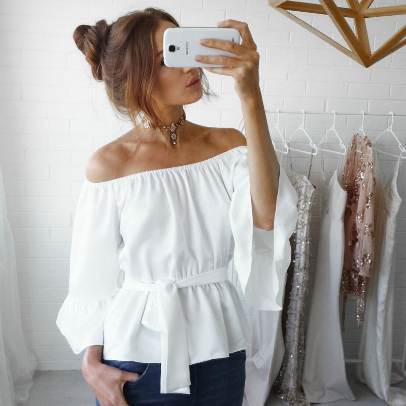 Blouses & Shirts New Womens Top Shirt Festivals Women Sexy The Word Collar Solid Classics Comfort Elegance Slash Neck Bandage Slim Blouse