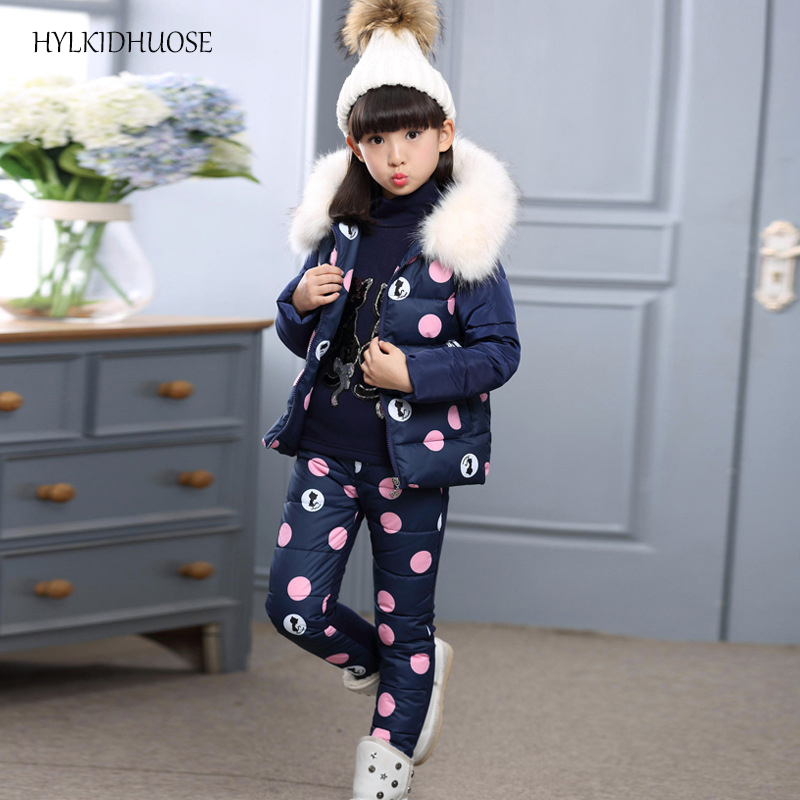 HYLKIDHUOSE 2017 Winter Baby Girls Clothes Sets Children Warm Suits Cotton Hooded Vest+Sweater+Pants Outdoor Kids Thick Suits<br>