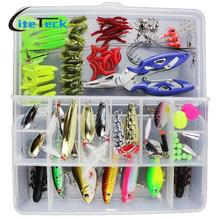 5-132PCS Fishing Lures Set Hard Soft Baits Popper Crankbait VIB Topwater Minnow Fish Tackle Box Mixe Color/Style/weight Optional