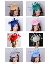 NEW COLOURS. headband party fascinator/felt fascinator/sinamay fascinator with birdcage veilng satin loop,feathers.FREE SHIPPING