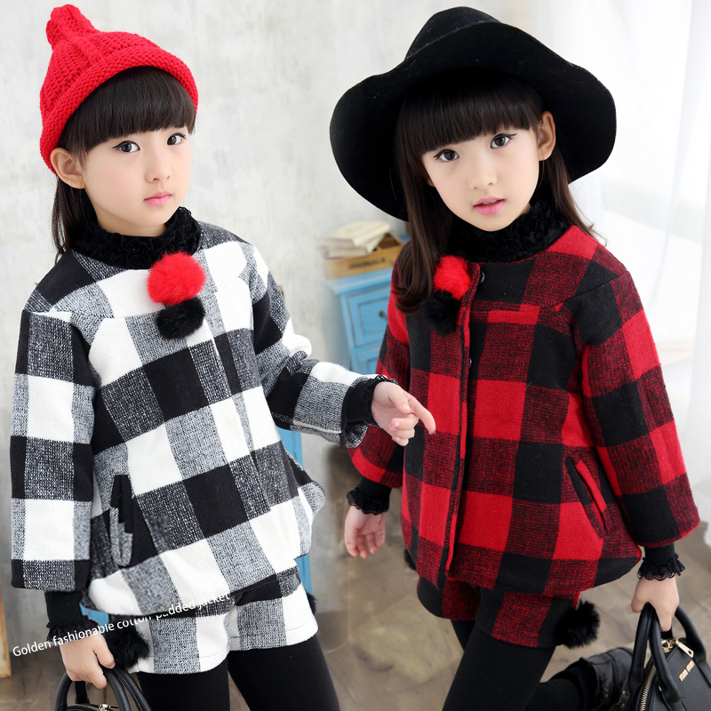 The New 2017 Han Edition Virgin Suit Girls Winter Children Grid Two-piece Tide Childrens Clothes<br><br>Aliexpress