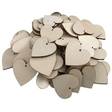 25pcs LOVE Hearts Shape Wooden Crafts with Holes Laser Cut Wood Heart for Home Decorations Wall Stickers Wooden Hearts(China)
