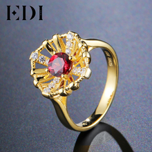 EDI Genuine 925 Sterling Silver Fine Jewelry 5mm Natural Garnet Ring for Women Female Luxury Party 18K Gold Gemstone Jewelry(China)