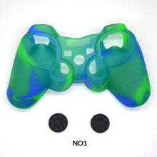 Soft Camouflage 100% Silicone Anti-Slip Protective Skin Case for PS3 Controller shell + 2 pcs Joystick caps(China)